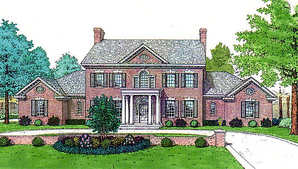 Colonial French Country Southern Elevation of Plan 92219