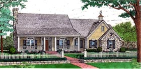 House Plan 92220 | Country Style Plan with 1830 Sq Ft, 3 Bedrooms, 2 Bathrooms, 3 Car Garage Elevation