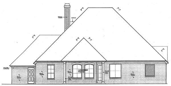 European House Plan 92223 Rear Elevation