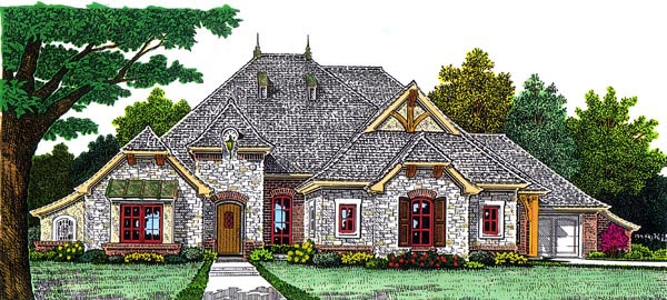 European House Plan 92225 Elevation