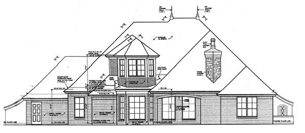 European House Plan 92225 Rear Elevation