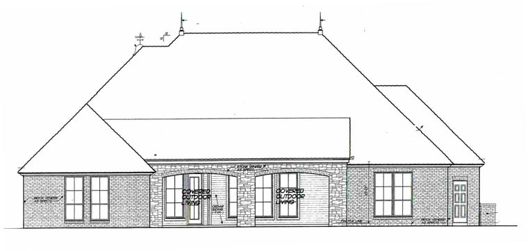 House Plan 92229 | European Style Plan with 2827 Sq Ft, 3 Bedrooms, 3 Bathrooms, 3 Car Garage Rear Elevation