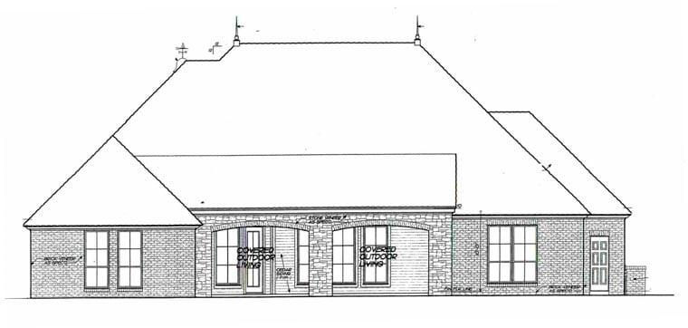 European House Plan 92229 Rear Elevation