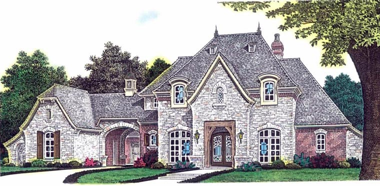 European , French Country House Plan 92230 with 3 Beds, 3 Baths, 3 Car Garage Elevation