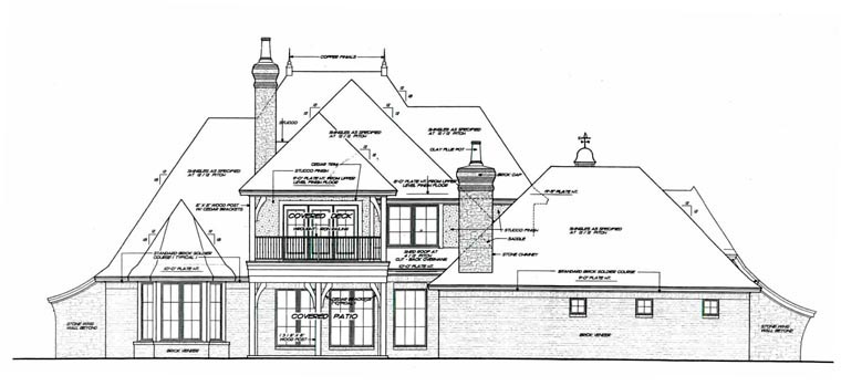 European , French Country House Plan 92230 with 3 Beds, 3 Baths, 3 Car Garage Rear Elevation