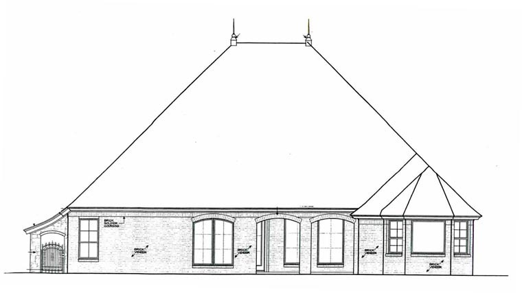 European House Plan 92232 Rear Elevation