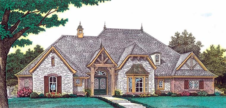 European House Plan 92233 with 4 Beds , 4 Baths , 3 Car Garage Elevation