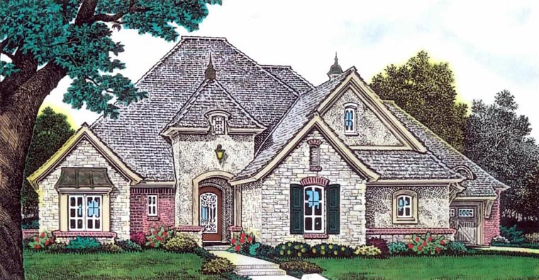European House Plan 92236 with 3 Beds, 4 Baths, 3 Car Garage Elevation