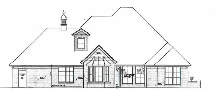 European House Plan 92236 with 3 Beds, 4 Baths, 3 Car Garage Rear Elevation