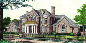 House Plan 92237 | Colonial European French Country Style Plan with 3783 Sq Ft, 4 Bedrooms, 4 Bathrooms, 3 Car Garage Elevation