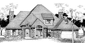 European French Country Victorian Elevation of Plan 92245