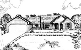 House Plan 92249   Ranch Style Plan with 2357 Sq Ft, 3 Bedrooms, 3 Bathrooms, 2 Car Garage Elevation