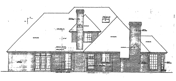 European House Plan 92269 Rear Elevation