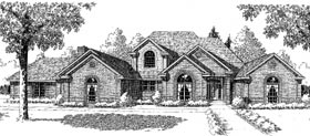 European , French Country , Traditional House Plan 92272 with 3 Beds, 4 Baths, 3 Car Garage Elevation