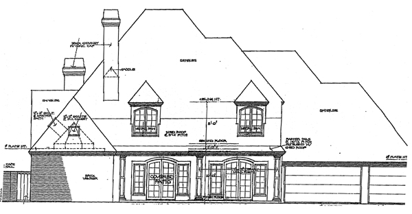 Country French Country Traditional Rear Elevation of Plan 92274
