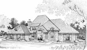 Bungalow , European , French Country House Plan 92276 with 4 Beds, 4 Baths, 3 Car Garage Elevation