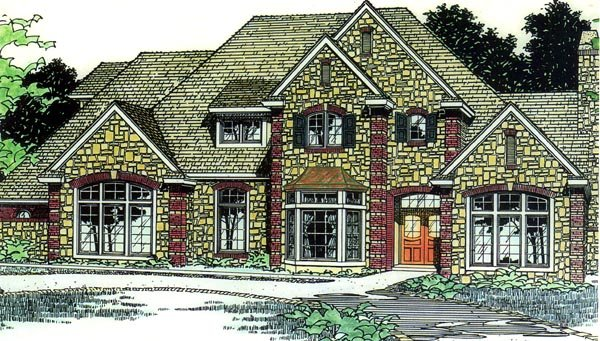 European, French Country, Victorian House Plan 92277 with 4 Beds, 4 Baths, 3 Car Garage Front Elevation