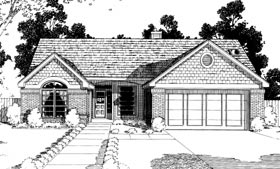 House Plan 92283 | Bungalow Ranch Style Plan with 1653 Sq Ft, 3 Bedrooms, 2 Bathrooms, 2 Car Garage Elevation
