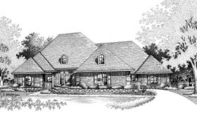 European House Plan 92285 with 4 Beds, 3 Baths, 2 Car Garage Elevation