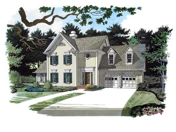 Colonial, Traditional House Plan 92307 with 3 Beds, 2 Baths, 2 Car Garage Elevation