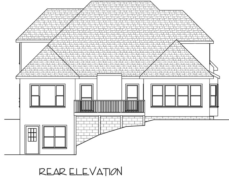 European Traditional House Plan 92323 Rear Elevation