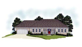 Traditional House Plan 92324 with 3 Beds, 3 Baths, 2 Car Garage Elevation