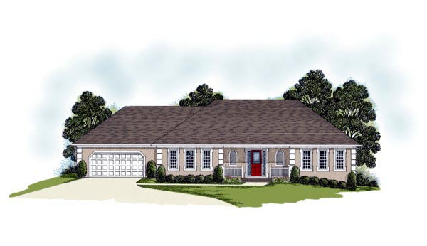 One-Story, Traditional House Plan 92324 with 3 Beds, 3 Baths, 2 Car Garage Elevation