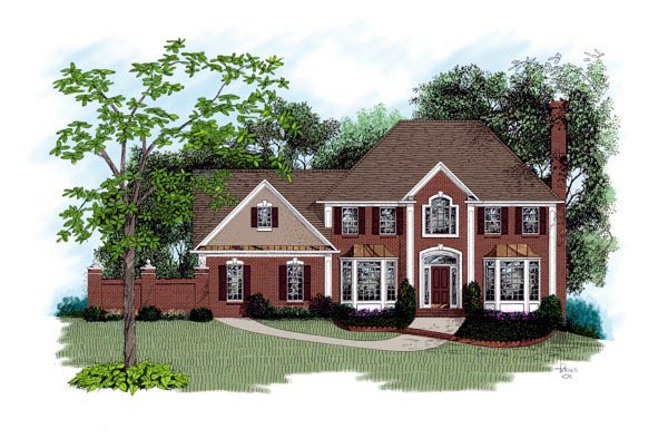 Colonial, European, Traditional House Plan 92325 with 4 Beds, 4 Baths, 2 Car Garage Elevation