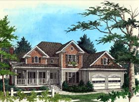 Traditional , Country House Plan 92327 with 3 Beds, 3 Baths, 2 Car Garage Elevation