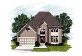 European House Plan 92328 with 3 Beds, 3 Baths, 2 Car Garage Elevation
