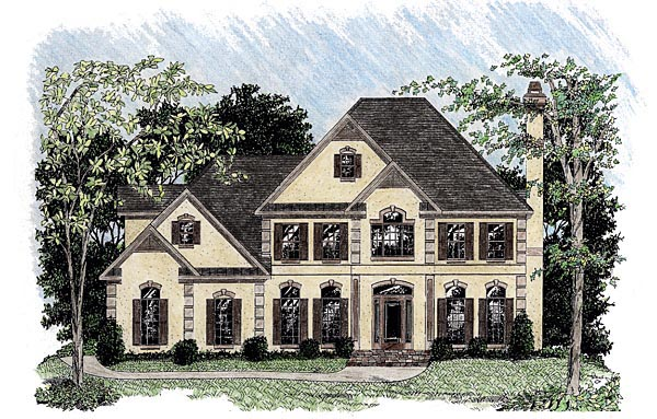 European House Plan 92332 with 4 Beds, 4 Baths, 2 Car Garage Elevation