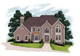 House Plan 92338 | European Traditional Style Plan with 3165 Sq Ft, 4 Bedrooms, 3 Bathrooms, 2 Car Garage Elevation