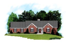 House Plan 92356 | Ranch Traditional Style Plan with 2098 Sq Ft, 3 Bedrooms, 3 Bathrooms, 2 Car Garage Elevation