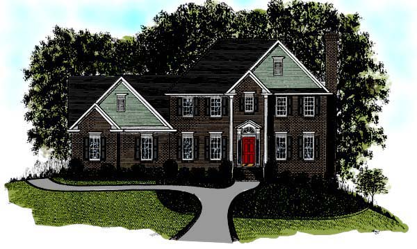 European House Plan 92357 with 4 Beds, 3 Baths, 2 Car Garage Elevation