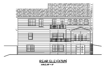 Traditional , Rear Elevation of Plan 92367