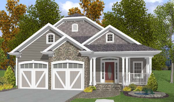 House Plan 92375 | Country Craftsman Style Plan with 2296 Sq Ft, 3 Bedrooms, 4 Bathrooms, 2 Car Garage Elevation