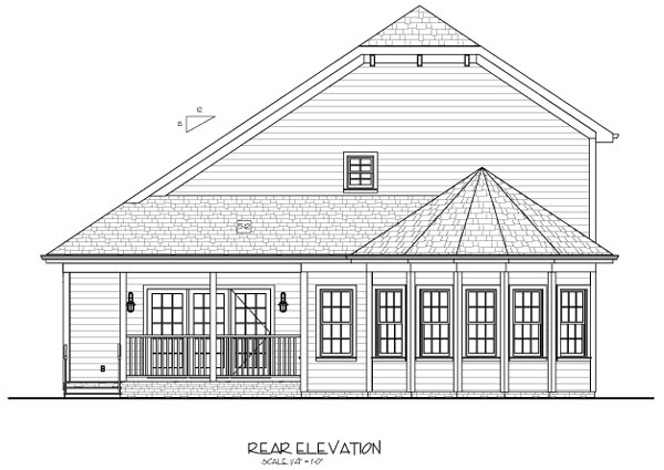 House Plan 92375 | Country Craftsman Style Plan with 2296 Sq Ft, 3 Bedrooms, 4 Bathrooms, 2 Car Garage Rear Elevation