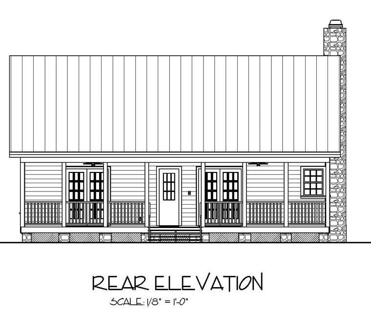 Cabin Country Ranch House Plan 92376 Rear Elevation