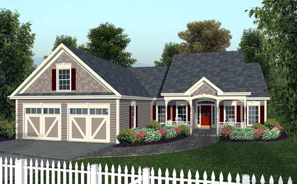 Country , European , Traditional House Plan 92377 with 3 Beds, 2 Baths, 2 Car Garage Elevation