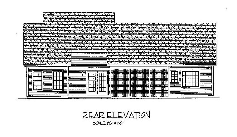 Country , European , Traditional House Plan 92377 with 3 Beds, 2 Baths, 2 Car Garage Rear Elevation