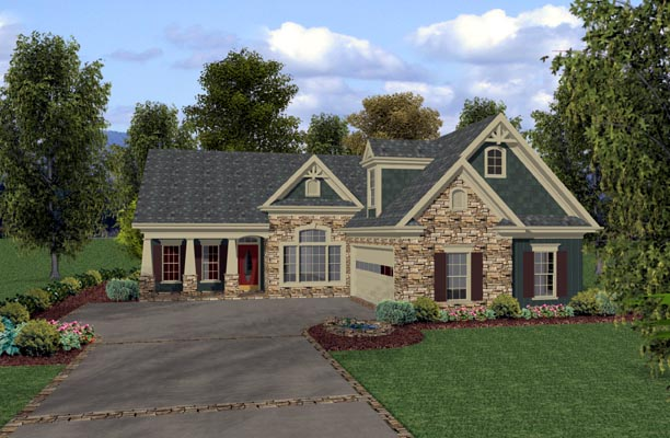 House Plan 92380 | Country, Craftsman Style House Plan with 1831 Sq Ft, 3 Bed, 3 Bath, 2 Car Garage Elevation