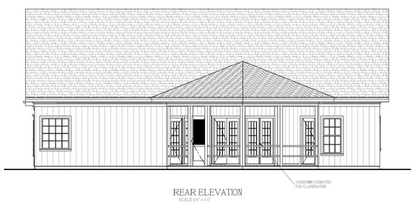 House Plan 92380 | Country, Craftsman Style House Plan with 1831 Sq Ft, 3 Bed, 3 Bath, 2 Car Garage Rear Elevation