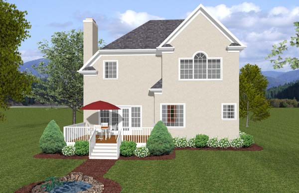Traditional House Plan 92382 with 3 Beds, 3 Baths, 2 Car Garage Rear Elevation
