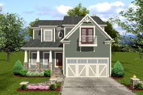 Craftsman House Plan 92384 with 3 Beds, 4 Baths, 2 Car Garage Elevation