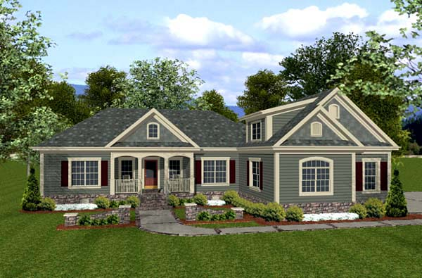 Country Craftsman Elevation of Plan 92385