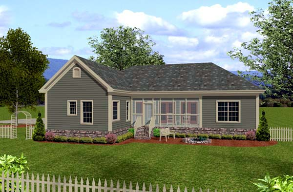Country Craftsman Rear Elevation of Plan 92385