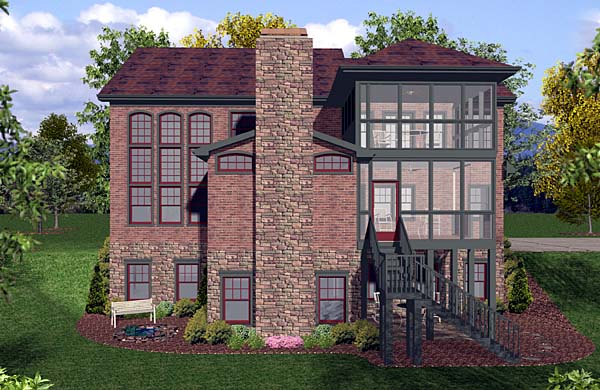 House Plan 92387 | Craftsman Style Plan with 2964 Sq Ft, 4 Bedrooms, 4 Bathrooms, 3 Car Garage Rear Elevation