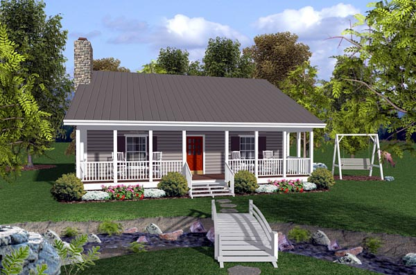 Cabin, Ranch, Traditional House Plan 92388 with 2 Beds, 2 Baths Elevation
