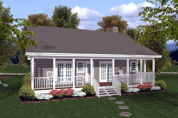 Cabin, Ranch, Traditional House Plan 92388 with 2 Beds, 2 Baths Rear Elevation