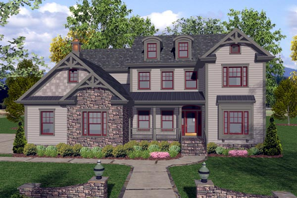 Craftsman Traditional Elevation of Plan 92389